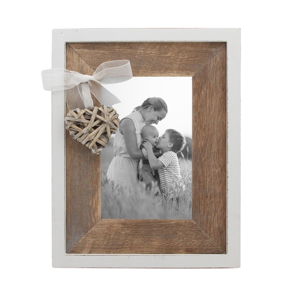 Afuly Rustic Wooden Picture Frame 4x6 Distressed Wood Photo Frames with Love Heart in White and Brown Wedding Gifts