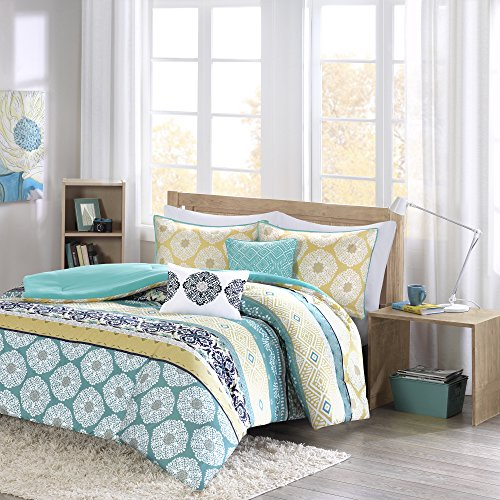Comforter Sets For Teen Girls Full Queen Twin Bedding Kids Aqua Teal Blue Yellow Perfect For Home or Dorm Rooms; Bundle Includes Exclusive Sleep Mask From Designer Home (Twin/Twin XL)