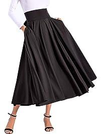 Avitalk Women High Waist Long Skirt with Slit Pockets Bow Tie Pleated Maxi Skirt