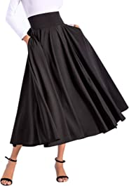 Avitalk Women High Waist Long Skirt with Slit Pockets Bow Tie Pleated Maxi Skirt