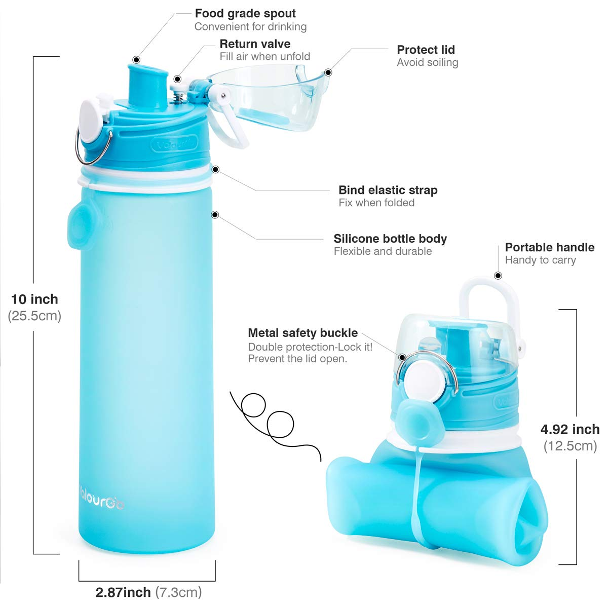 Valourgo Collapsible Sports Water Bottle Leak Proof Roll up BPA Free Silicone Water Bottle for Travel and Outdoor 21 oz