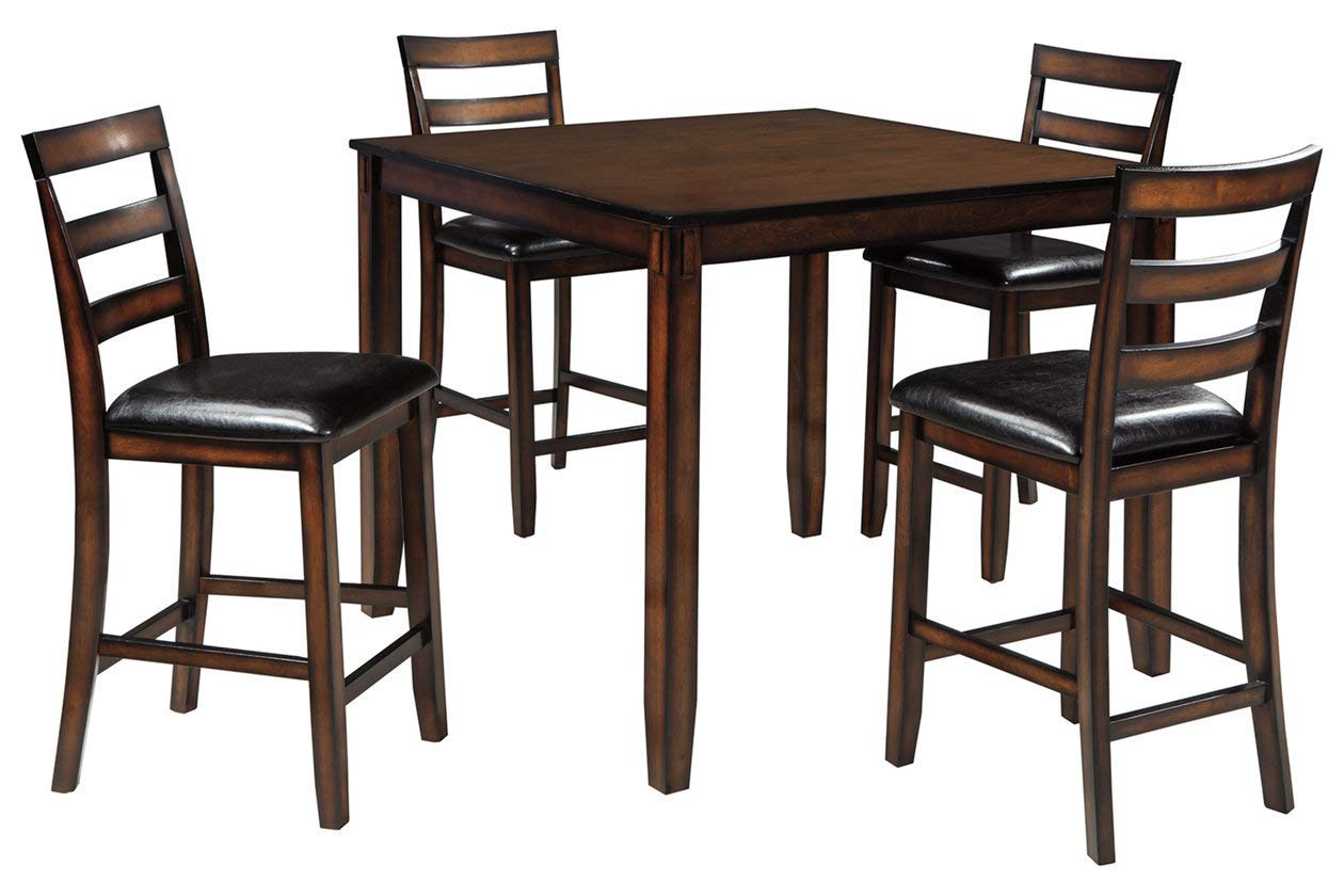 Amazon com ashley furniture signature design coviar counter height dining room table and bar stools set of 5 brown table chair sets
