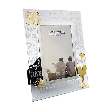 Golden 50th Wedding Anniversary Mirrored Photo Frame: Amazon.co.uk ...
