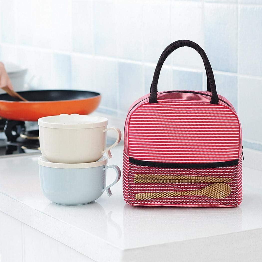 omdoxs Mini Oxford Stripe Lunch Bag Tragbare Thermische Lebensmittelbeh/älter Tote Handtasche 1 ST/ÜCK