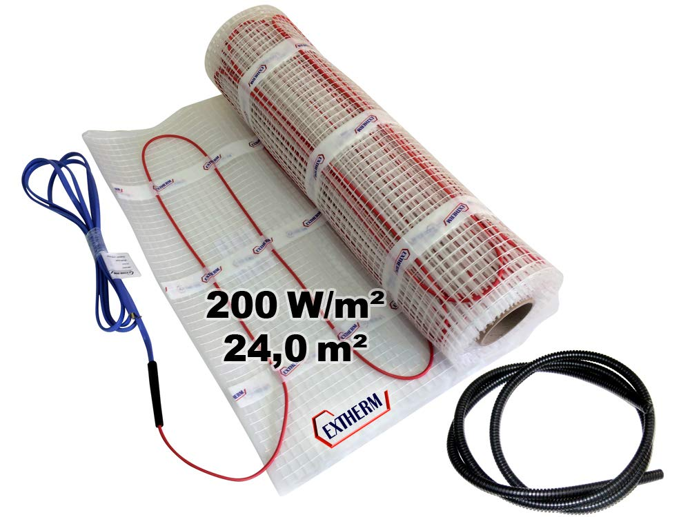 200W//m2 Komfortable W/ärme In All Ihren R/äumen Erneuerbare Energiel/ösung 7m/² EXTHERM TWIN Heizkabel-Matte F/ür Elektrische Fu/ßboden-Heizung 7m/² - Installation
