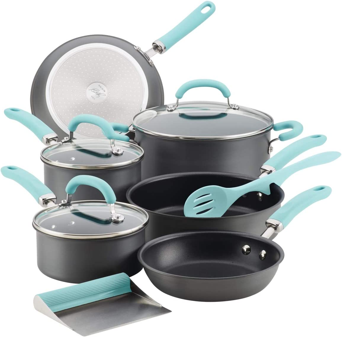 Rachael Ray 81125 11-Piece Hard Anodized Aluminum Cookware Set, Gray with Light Blue Handles