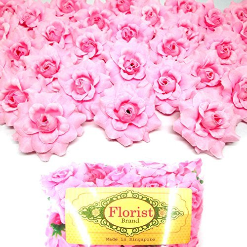 """(100) Silk Pink Roses Flower Head - 1.75"""" - Artificial Flowers Heads Fabric Floral Supplies Wholesale Lot for Wedding Flowers Accessories Make Bridal Hair Clips Headbands Dress"""