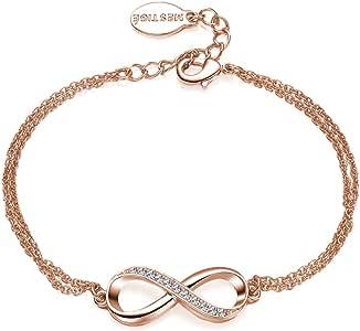 Mestige Rose Gold Infinitely Yours Bracelet with Swarovski Crystals (Rose Gold), Gifts Women Girls, Bracelet, Love, Infinity (MSBR3205)
