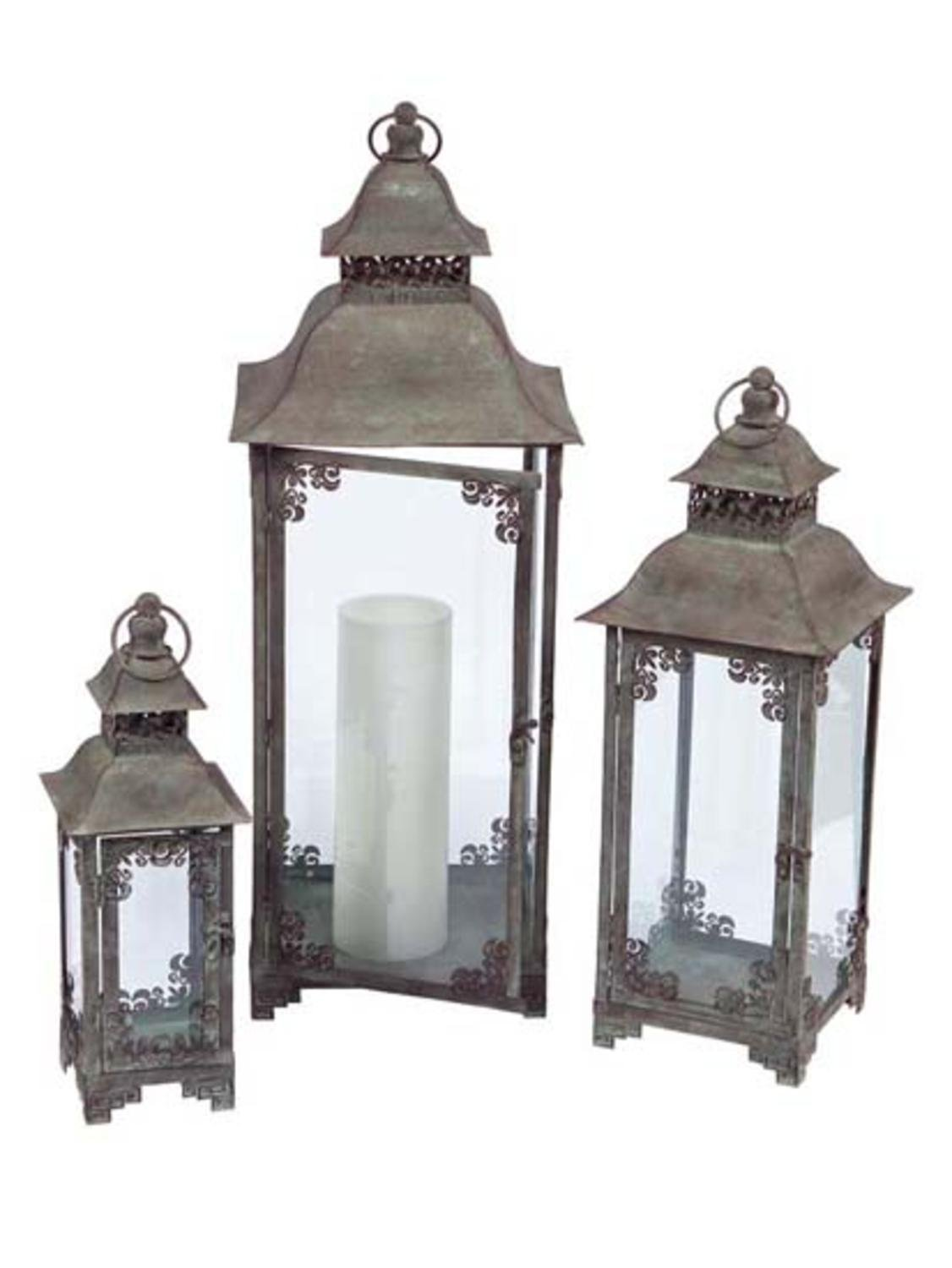 Melrose International Secret Enchanted Garden Metal and Glass Lantern, Set of 3 by Melrose International