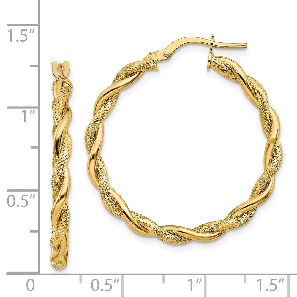 Mia Diamonds 14k Yellow Gold Satin and Polished Twisted Hoops