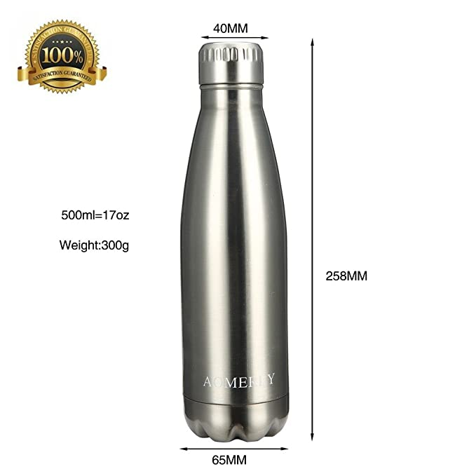 AOMERLY - Botella de agua aislada al vacío con doble pared de acero inoxidable, 500 ml - Forma de cola de Swel - Sin sudoración ni BPA; mantiene el frío y ...