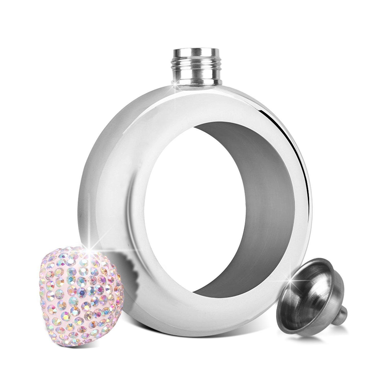 Bracelet Flask with Handmade Rhinestones Lid Stainless Steel Wine Flagon Funnel for Women 3.5 oz