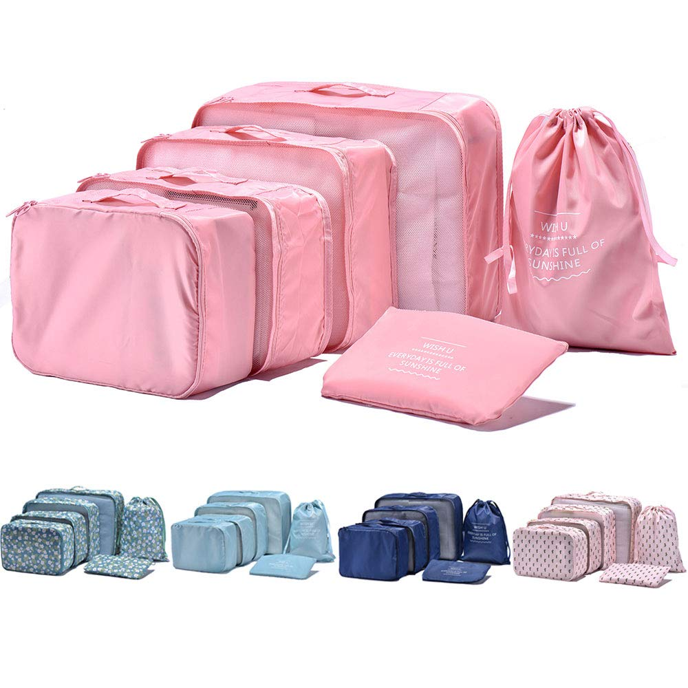 Arxus 6 Set Packing Cubes Travel Luggage Waterproof Organizers (Pink) product image