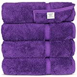 Luxury Hotel & Spa Bath Towel Turkish Cotton, Set of 4 (Eggplant)