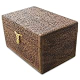 BestPysanky Sheesham Wood Hand Carved Indian Oriental Wooden Chest 18 Inches X 12 Inches x 10 Inches