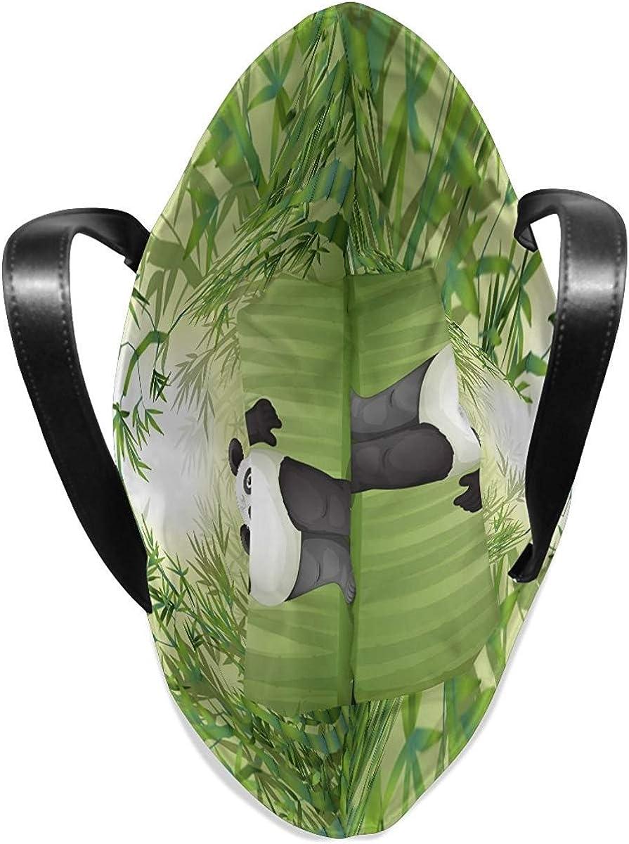 Tote Bag Leather Purse Handbag Lightweight Cartoon Panda Bamboo Forest for Womens
