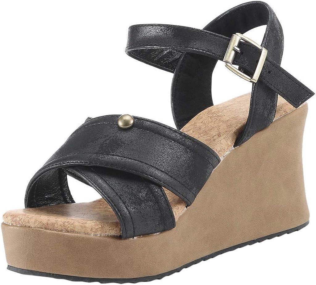 Realdo Womens Plus Size Wedge Sandals with Platform Summer Fashion Buckle Strap Wedges Retro Peep Toe Shoes