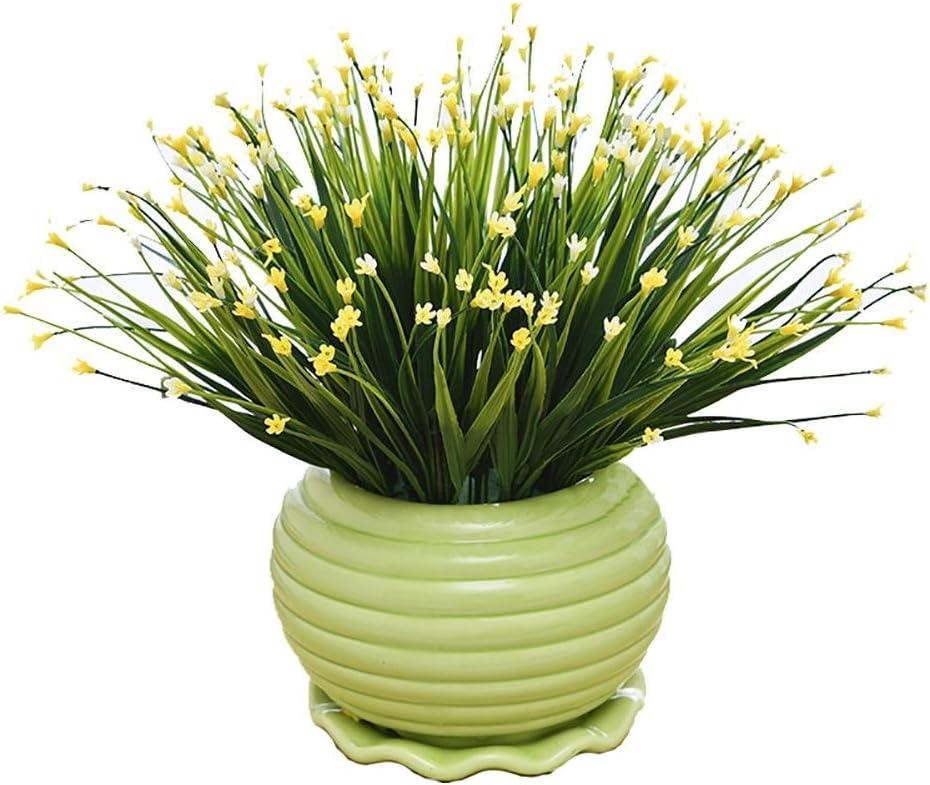 2018decorativa Flores Simulación Artificial Planta Flor árbol verde Algodón olla (mucho color) Salón Mesa plástico Flores. Lucky Feng Shui cerámica ollas Decoración, # 144b