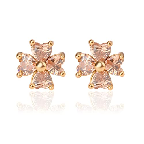 15d30e7ef TAGOO Four Leaf Clover Charm Gold 18K Plated CZ Wedding Nickel Free Steel  Stud Earrings for