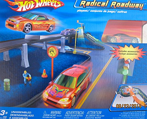 Hot Wheels RADICAL ROADWAY RACE SET w Includes RACE CAR & FIGURE - Set Roadway