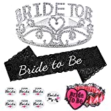 Konsait Bride To Be Tiara and Sash, Bachelorette Party Bride To Be Sash and ...