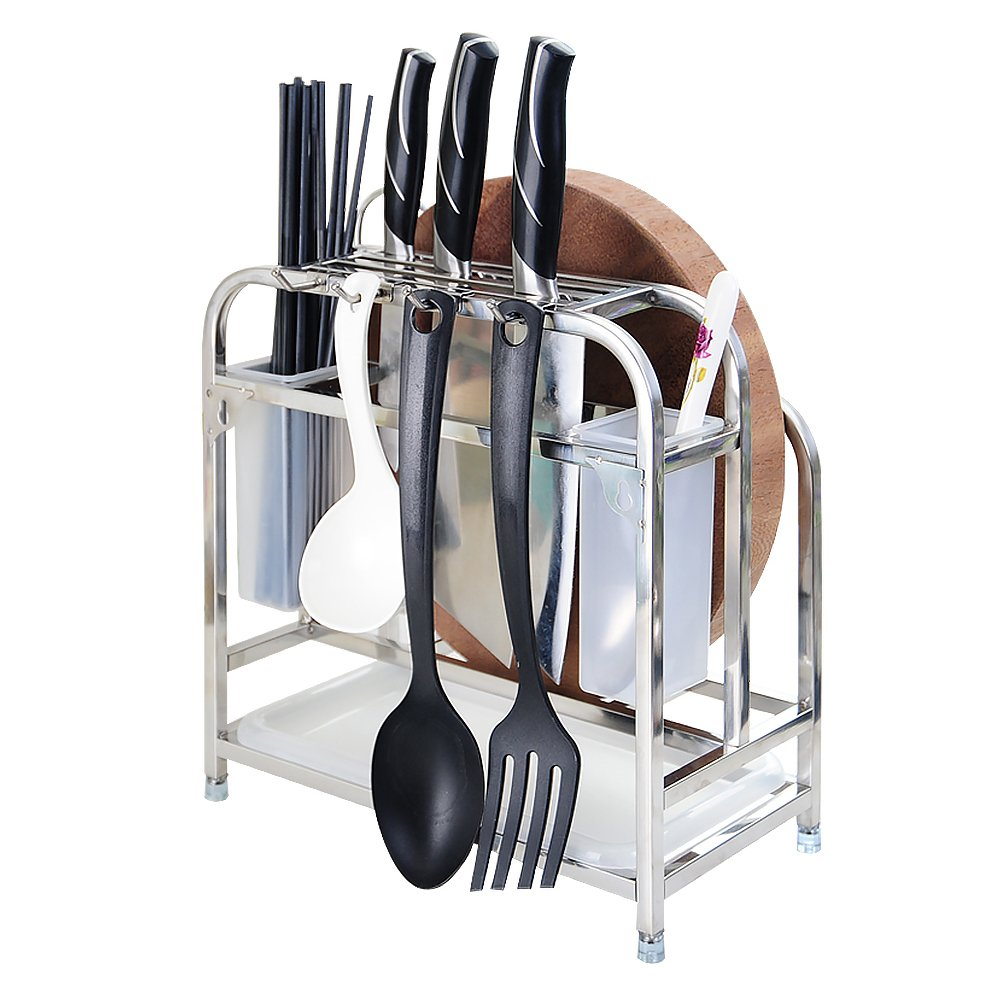 Knife Rack, Cutting Board Holder, CHICmension 304 Stainless Steel Kitchen Utensils Rack Chopping Boards/Knives/Chopsticks/Spoon/Fork/Flatware Storage Drying Drainer (1 Drainboard,2 Holders Included)