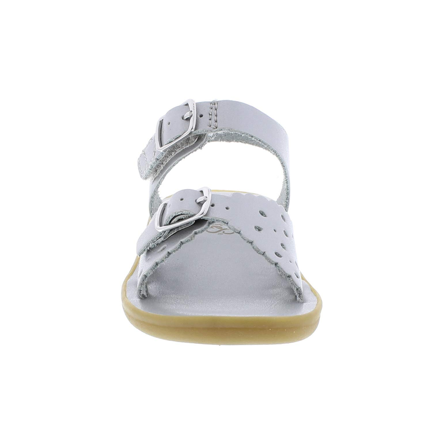1107 FOOT MATES Girls Ariel Hook-and-Loop and Buckle Perf Sandal Silver