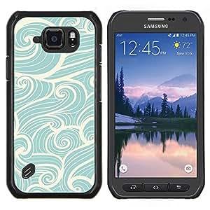 LECELL--Funda protectora / Cubierta / Piel For Samsung Galaxy S6Active Active G890A -- olas Wind Surf azul vintage --