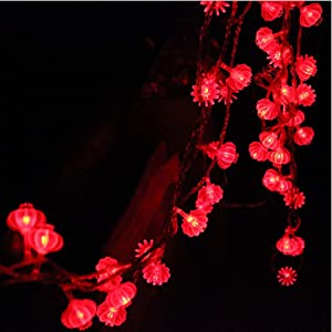 13ft/4M 40 LED Red Lanterns String Lights Battery Operated Fairy String Lights For Wedding, Chinese New Year,Spring Festival,Party Decoration,Christmas.