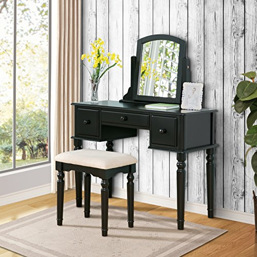Harper Bright Designs Wood Vanity Table Set with Mirror and Stool Set (Black) (Mirror And Wood Nightstand)