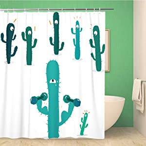rouihot 72x72 Inches Shower Curtain Set with Hooks Cactus and Friends Exercise Dumbbell Lift Home Decor Waterproof Polyester Fabric Bathroom Curtains