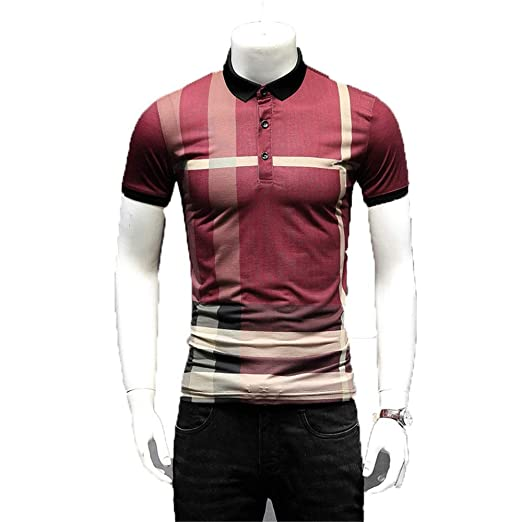 Camiseta de hombre Mens Summer Casual Slim Fit Camisas Turn Down ...