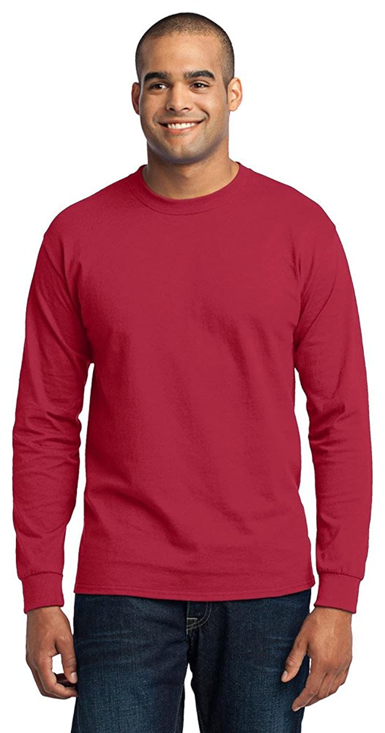 Port & Company Mens Long Sleeve 50/50 Cotton/Poly T-Shirt, Medium, Red