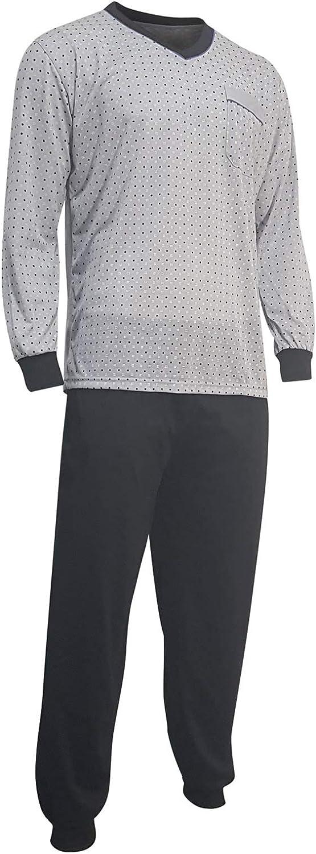 Lavazio Herren Schlafanzug Pyjama Zweiteiler lang 2-Teiler Oberteil Gemustert Hose Uni schwarz mit V-Ausschnitt in 6 Qualit/ät