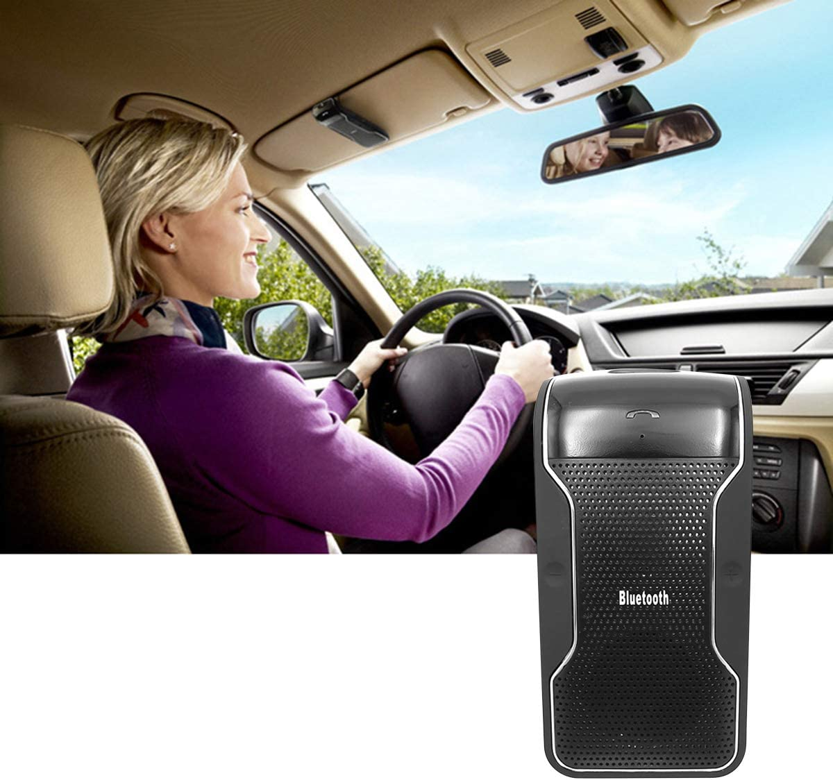 ROSEBEAR Multipoint Car Wireless Bluetooth Hands-Free Speakerphone,Built-in DSP Noise Suppression,Echo Cancellation Clip-on Speaker Kit for Car Sun Visor with 650mAh Battery Bluetooth Car Kits