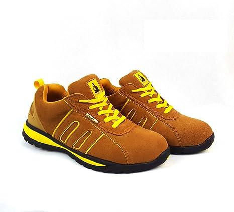 Zapatos de seguridad con puntera de acero para hombre o mujer, piel sintética, Yellow