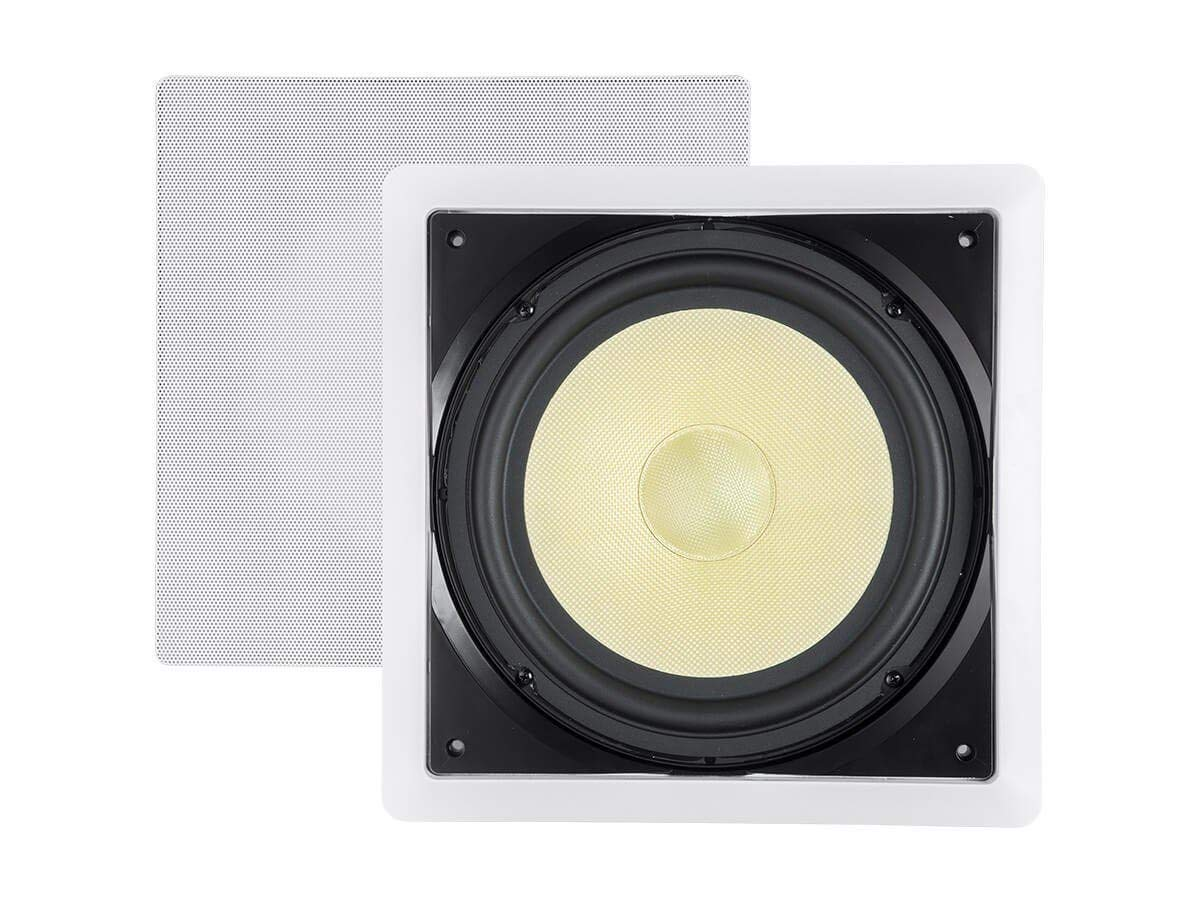 Monoprice Fiber in-Wall Speaker - 10 Inch (Each) 300W Subwoofer, Easy Installation and Paintable Grill - Caliber Series by Monoprice