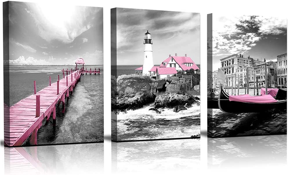 Black and white wall art ocean Lighthouse Pink wooden walkway boat canvas wall art for bedroom modern Bathroom wall decor office Wall Artworks Pictures home decoration