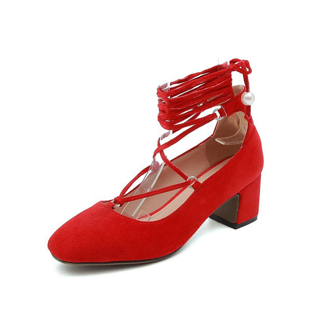 Frauen Schuhe Wildleder quadratischen Kopf flachen Mund High Heels Damenschuhe dick mit großen Schuhen Schuhe Spitze Frühling neu rot 34EU