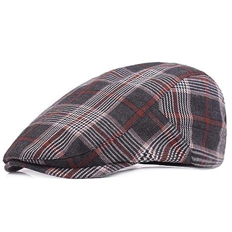 MMD-womens hat Moda Gorras de Boina de algodón a Cuadros for ...