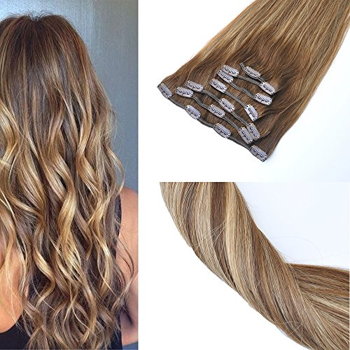 KOCONI 14inch Clip in Hair Extensions Remy Human Hair Balayage Chestnut Brown to Caramel Blonde Highlights Real Hair Extensions 14quot 427P4