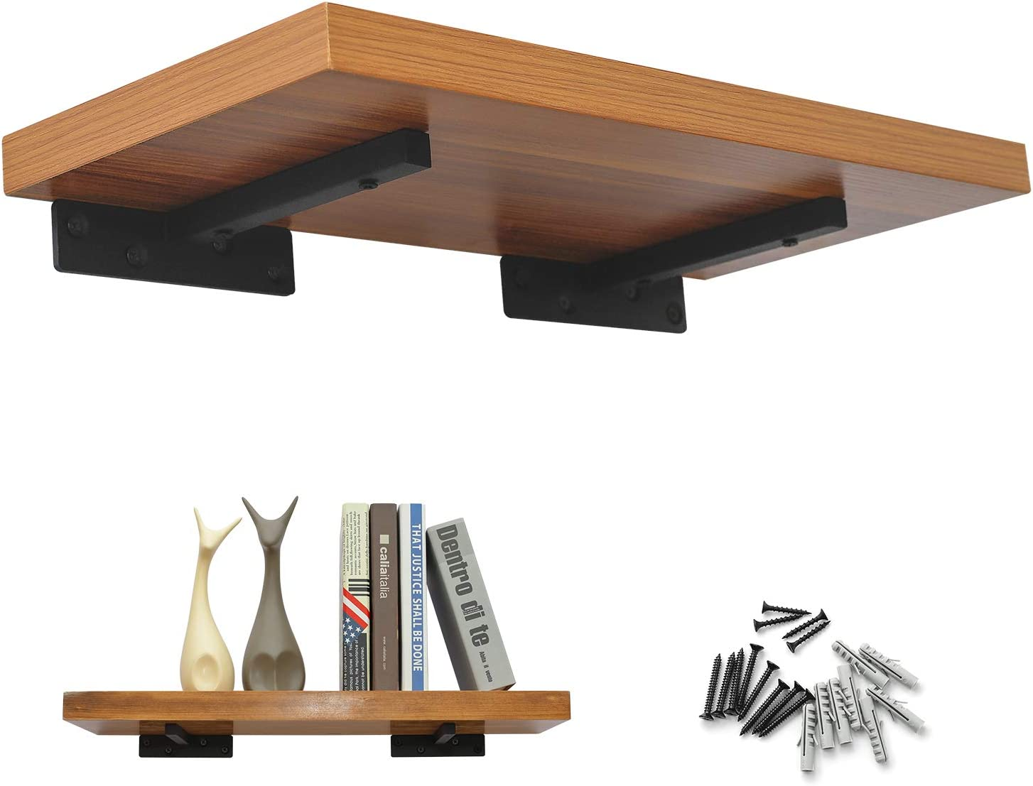 Floating Shelves with Brackets Wall Mount, Heavy Duty Wood Shelving with Metal Hardware, Rustic Hanging Shelf Decoration for Livling Room, Kitchen and Office, 8 Inch Deep