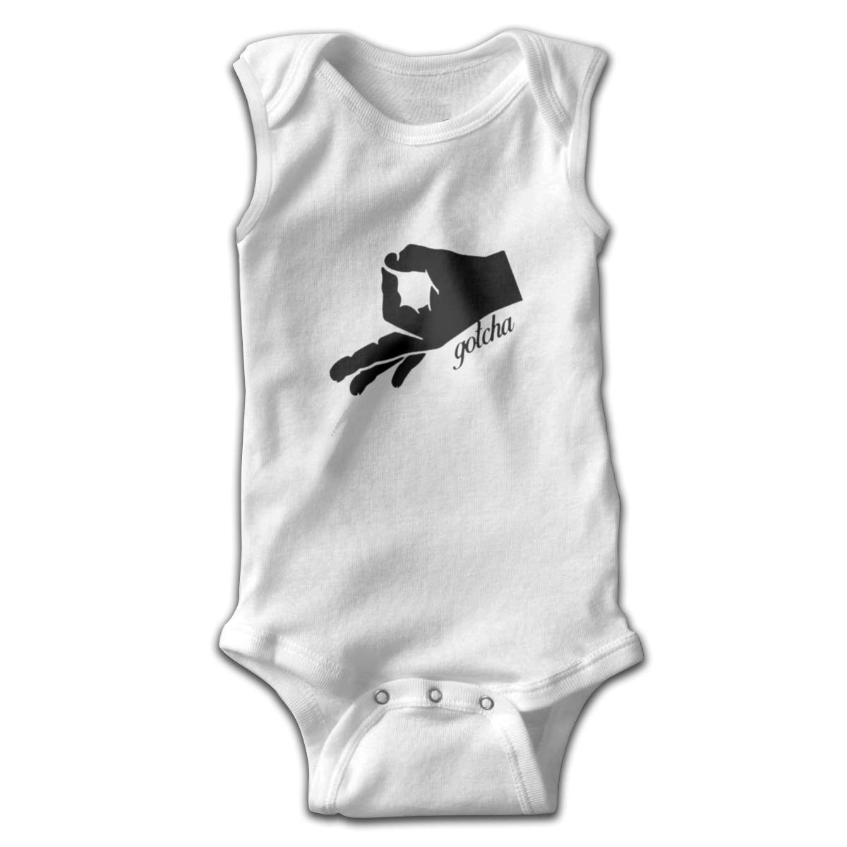 Gotcha Hand Newborn Baby No Sleeve Bodysuit Romper Infant Summer Clothing White