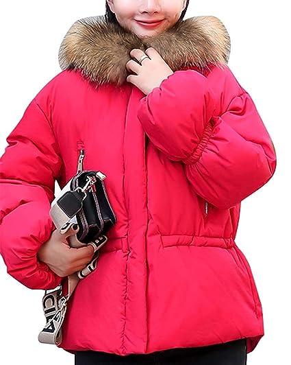 FuweiEncore Mujeres Acolchadas Abrigos Cortos Manga de Burbuja Piel sintética con Capucha Suelta Abrigos Ocasionales (