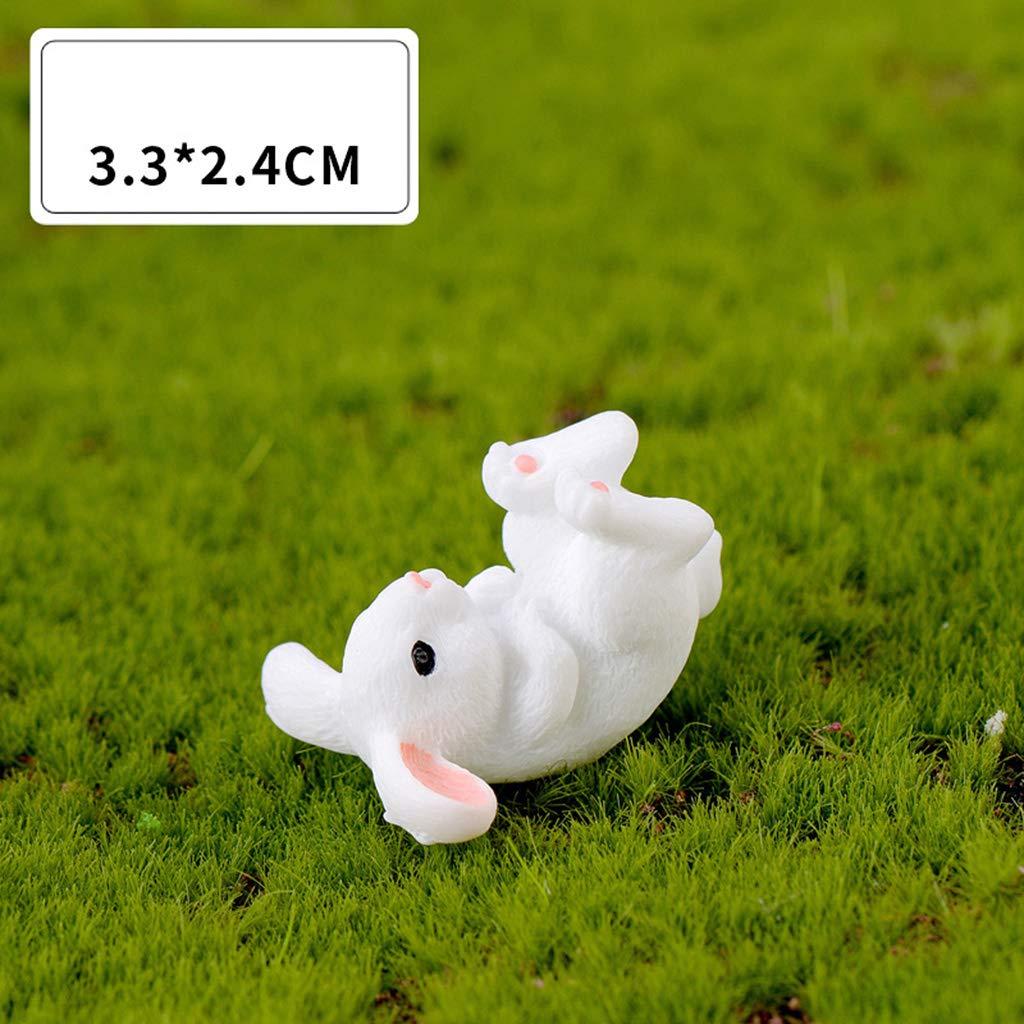 WINJEE,4Pcs//Set Garden Cute White Rabbits Miniature Resin Figurine Home Decor Micro Landscape Craft Plant Pot Fairy DIY Ornament White