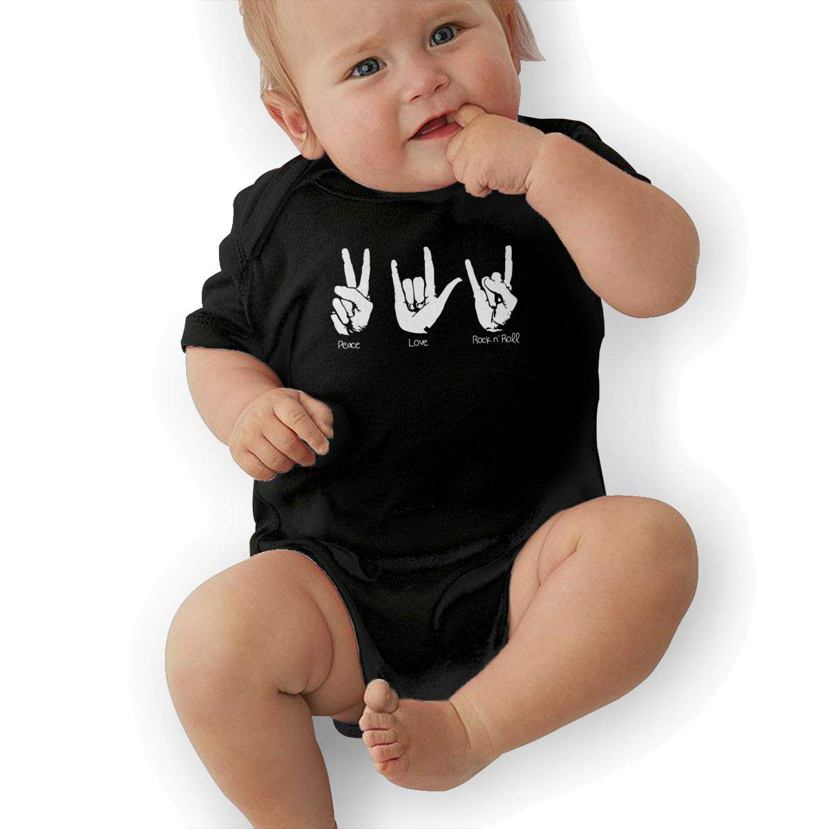 Peace Love and Rock and Roll Newborn Infant Toddler Baby Girls Boys Bodysuit Short Sleeve 0-24 MonthsBlack