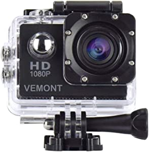 Vemont Action Camera 1080P 12MP Sports Camera Full HD 2.0 Inch Action Cam 30m/98ft Underwater Waterproof snorkel surf Camera with Wide-Angle Lens and Mounting Accessories Kit (Black)