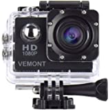 Vemont Action Camera 1080P 12MP Sports Camera Full HD 2.0 Inch Action Cam 30m/98ft Underwater Waterproof Snorkel surf Camera