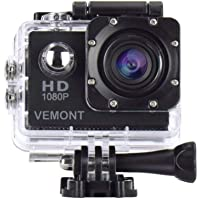 Vemont Action Camera 1080P 12MP Sports Camera Full HD 2.0 Inch Action Cam 30m/98ft Underwater Waterproof Camera with Mounting Accessories Kit (Black)