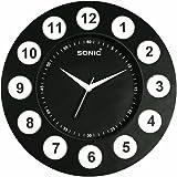 Sonic Black Round Plastic Analogue Quartz